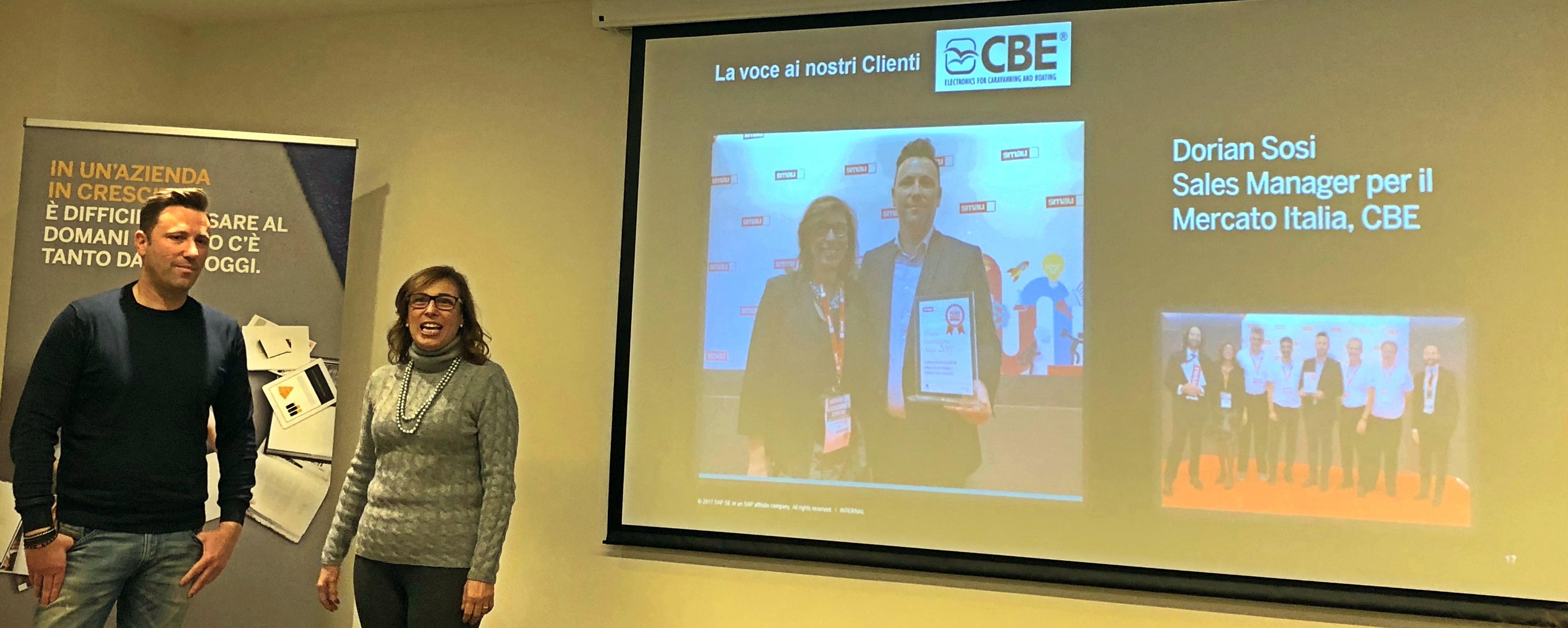 Dorian Sosi, Sales Manager per il mercato Italia di CBE insieme a Tiziana Del Vecchio, Channel Sales Manager SAP Business One