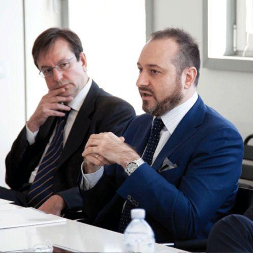 Giuseppe Ceglie, Responsabile Dipartimento Esercizio di Lombardia Informatica e Davide Nebbia, IT and organization Director di Corneliani