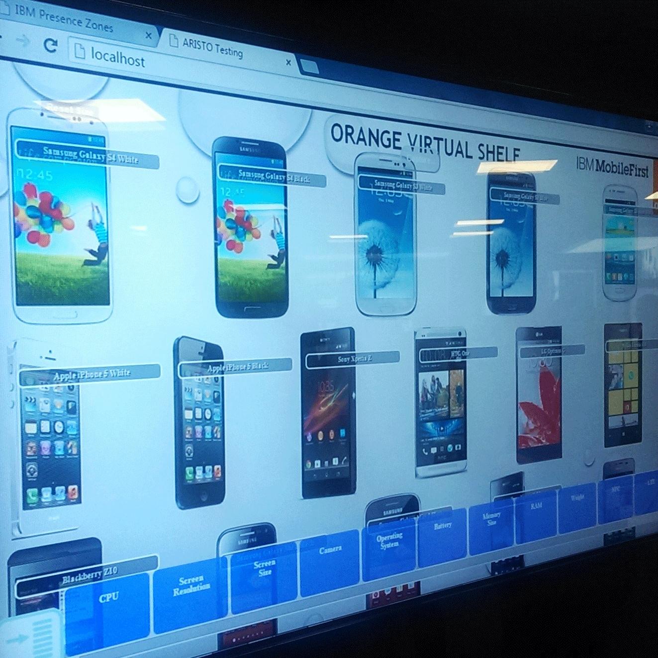 Alcune applicazioni di vetrine virtuali nello show room di IBM