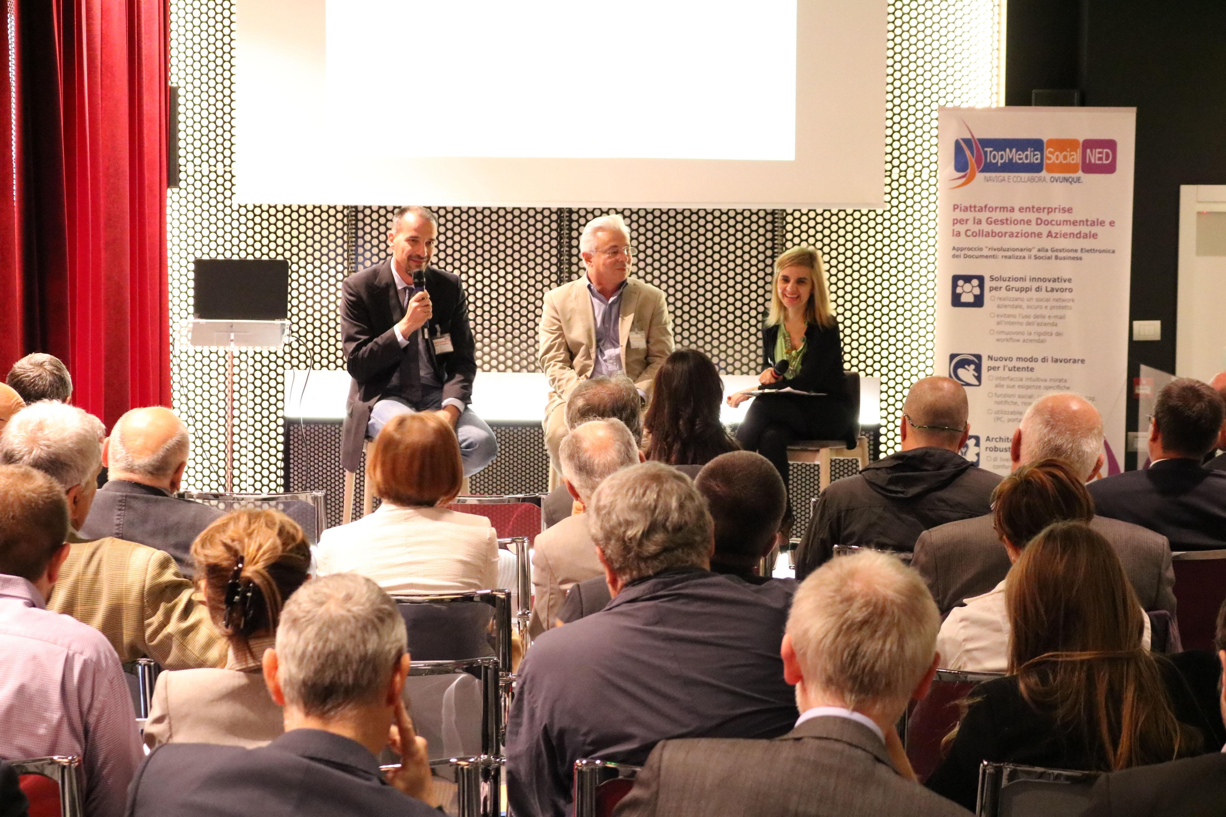 Adriano Braghieri, GEA, e Angelo Cantoni, DIGILAN, durante l'intervista