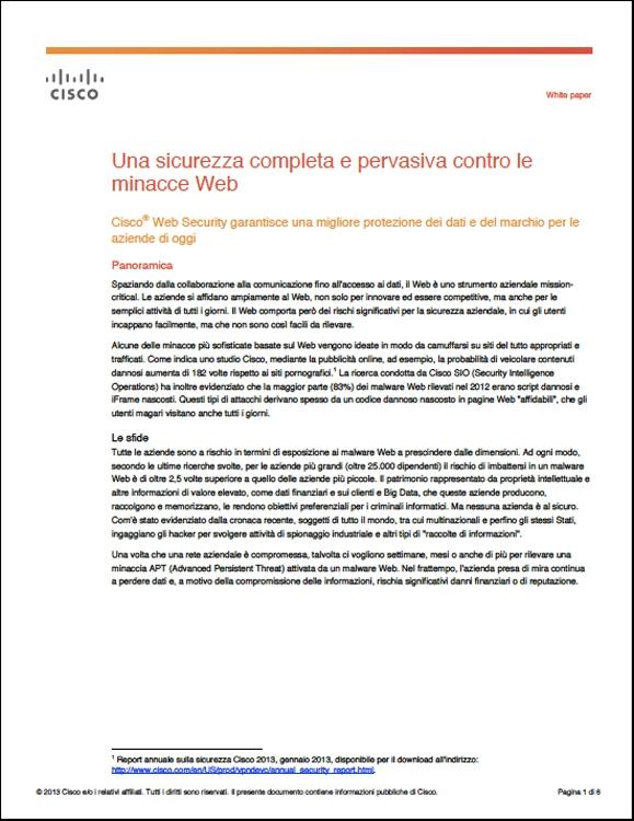 Cisco - Una sicurezza completa e pervasiva contro le minacce Web