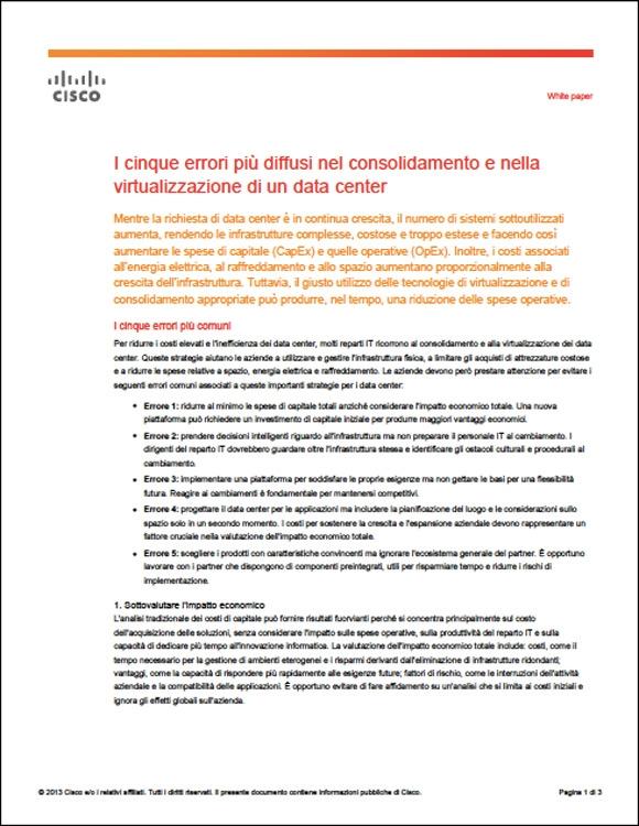 DimensionData - I cinque errori piů diffusi nel consolidamento e nella virtualizzazione di un data center