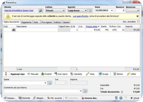 Un alert su una azienda visualizzato all'interno del software gestionale Easyfatt