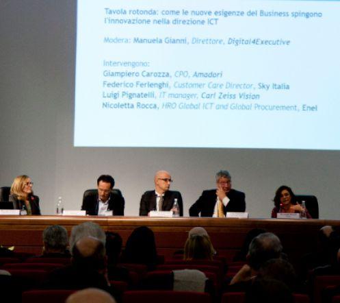Manuela Gianni, direttore di Digital4Executive, Giampiero Carozza, Amadori; Federico Ferlenghi, Sky Italia; Luigi Pignatelli, Carl Zeiss Vision Italy: e Nicoletta Rocca, Enel.