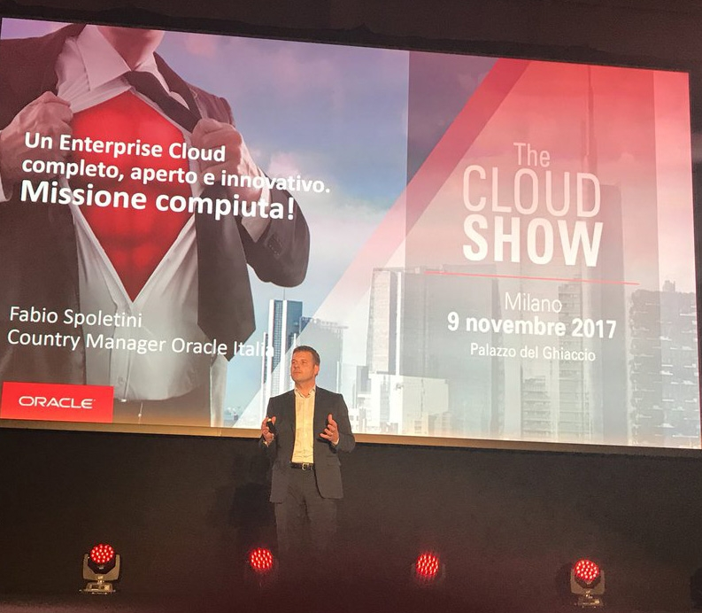 Fabio Spoletini, country manager, sul palco dell'Oracle Cloud Show